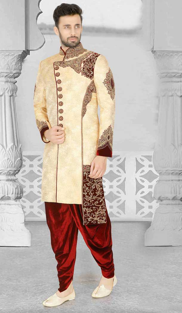 Elegant Cream Readymade Wedding Wear Indo Western Men Sherwani -671284370