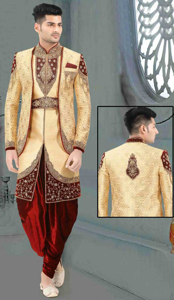 Cream Readymade Wedding Wear Indo Western Men Sherwani -671284372