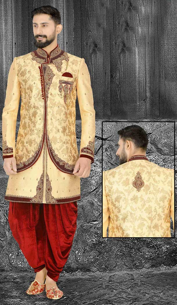 Stunning Cream Readymade Wedding Wear Indo Western Men Sherwani -671284373