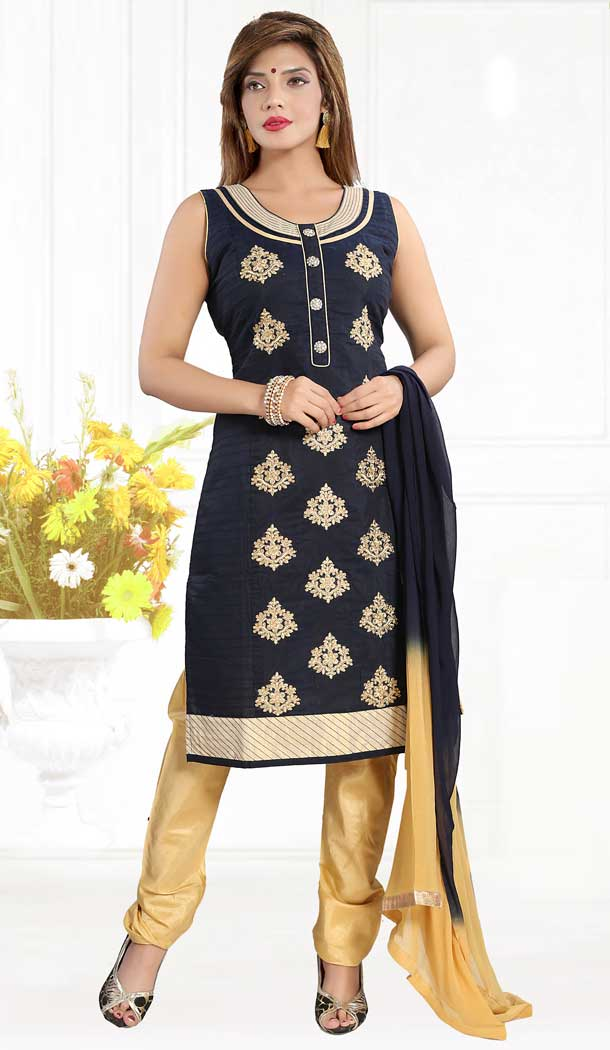 Navy Blue Color Brocade Silk Party Wear Plus Size Readymade Suit