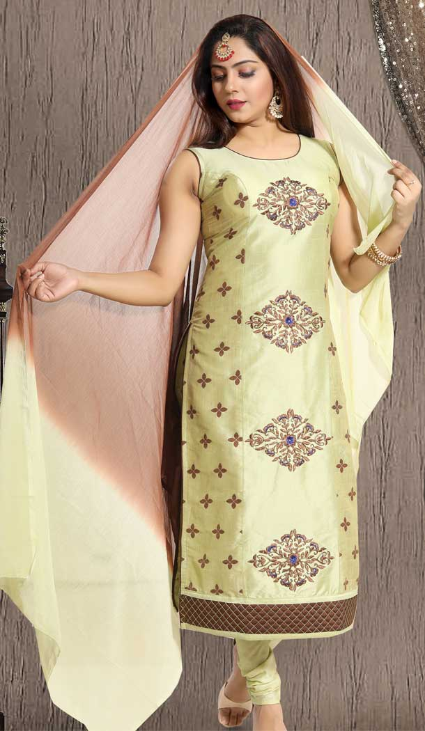 Flamboyant Pista Green Color Banglori Silk Designer Plus Size Readymade Suit -673284623