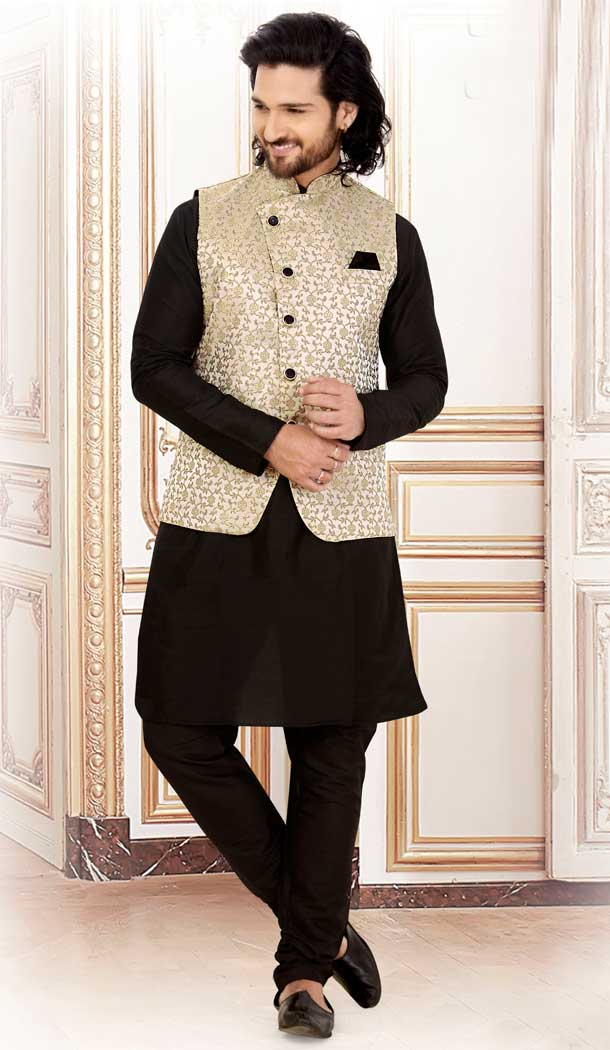 Black Color Silk Readymade Fastive Wear Kurta Pyjama with Jacket -673484643
