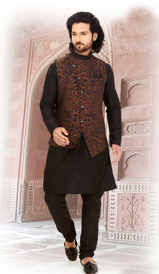 Tranquil Black Color Silk Readymade Fastive Wear Kurta Pyjama with Jacket -673484654
