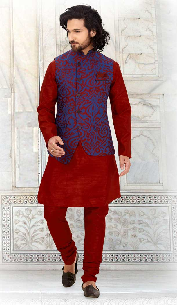 Alluring Maroon Color Silk Readymade Fastive Wear Kurta Pyjama with Jacket -673484655