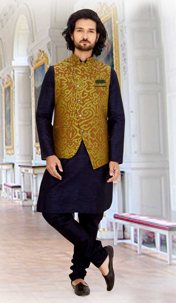Adorable Navy Blue Color Silk Readymade Fastive Wear Kurta Pyjama with Jacket -673484656