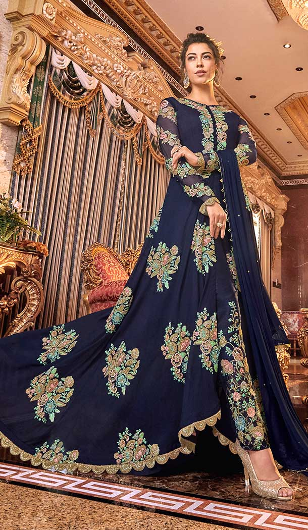 Exquisite Designer Long Abaya Salwar Kameez In Navy Blue Color Satin Silk