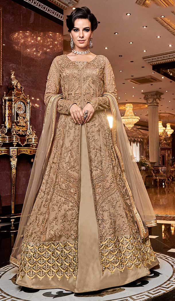 Charming Designer Long Pakistani Salwar Kameez In Beige Color Net