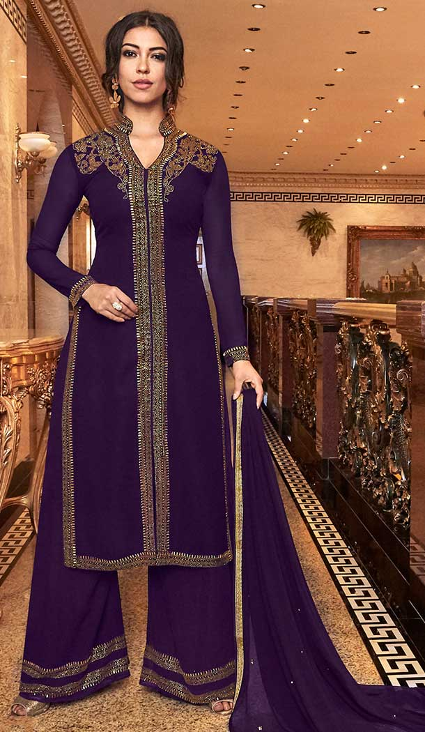 Attractive Designer Long Wedding Sharara Suit In Violet Color Georgette