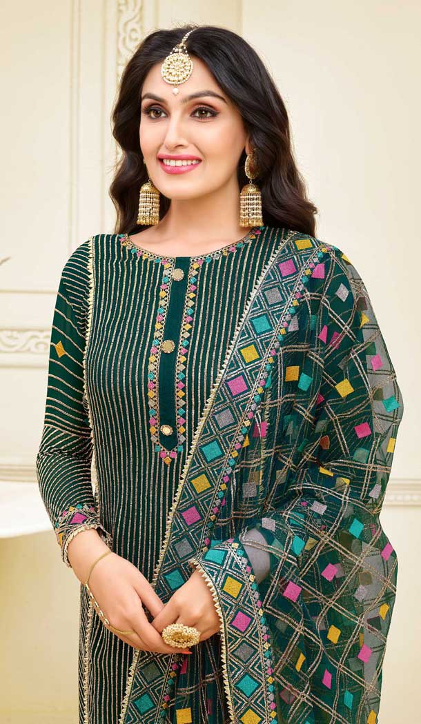 Dark Green Color Satin Georgette Heavy Embroidred Designer Salwar Suits -676984943