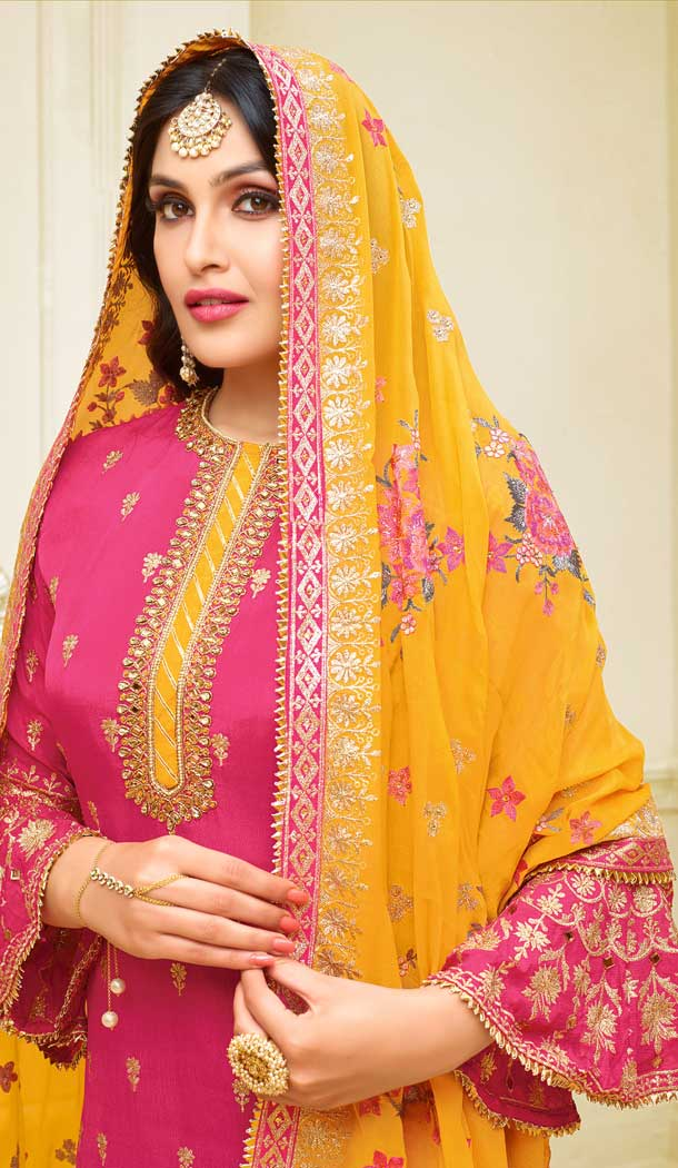 Pink Color Satin Georgette Heavy Embroidred Designer Salwar Suits -676984944