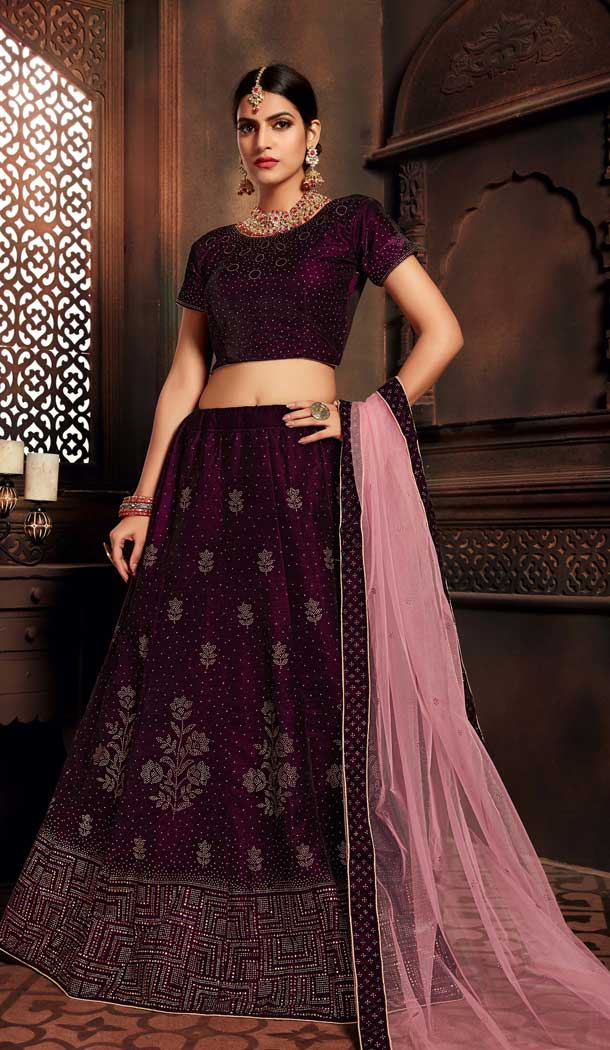 Wine Color Velvet Heavy Designer Embroidery Women Lehenga Choli -677284967