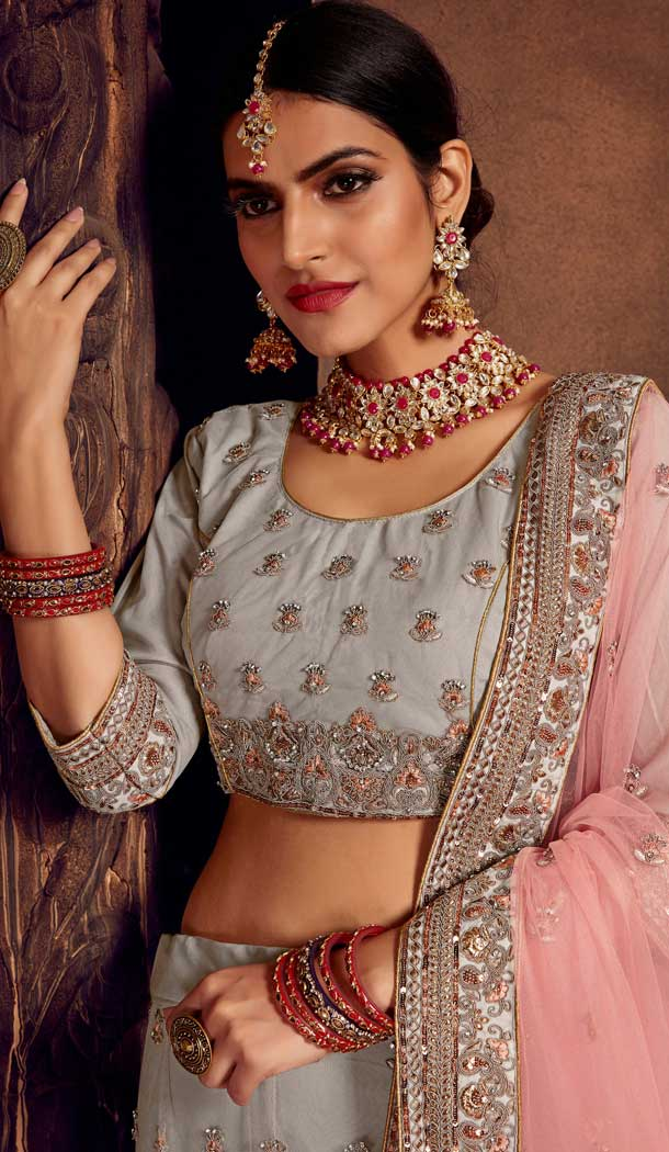 Vivacious Grey Color Net Heavy Designer Embroidery Women Lehenga Choli -677284969