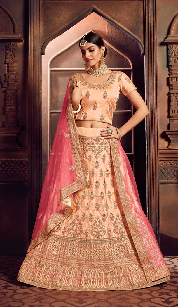 Peach Color Silk Heavy Designer Embroidery Women Lehenga Choli -677284972