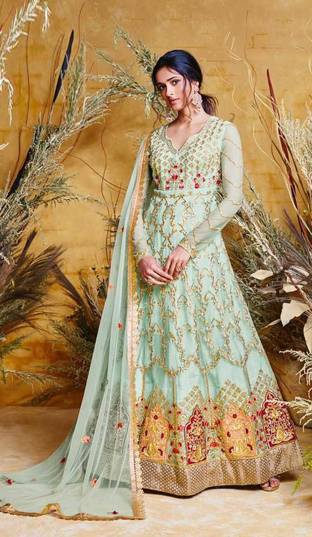 Gorgeous Sky Blue Color Heavy Net Designer Long Anarkali Salwar Kameez