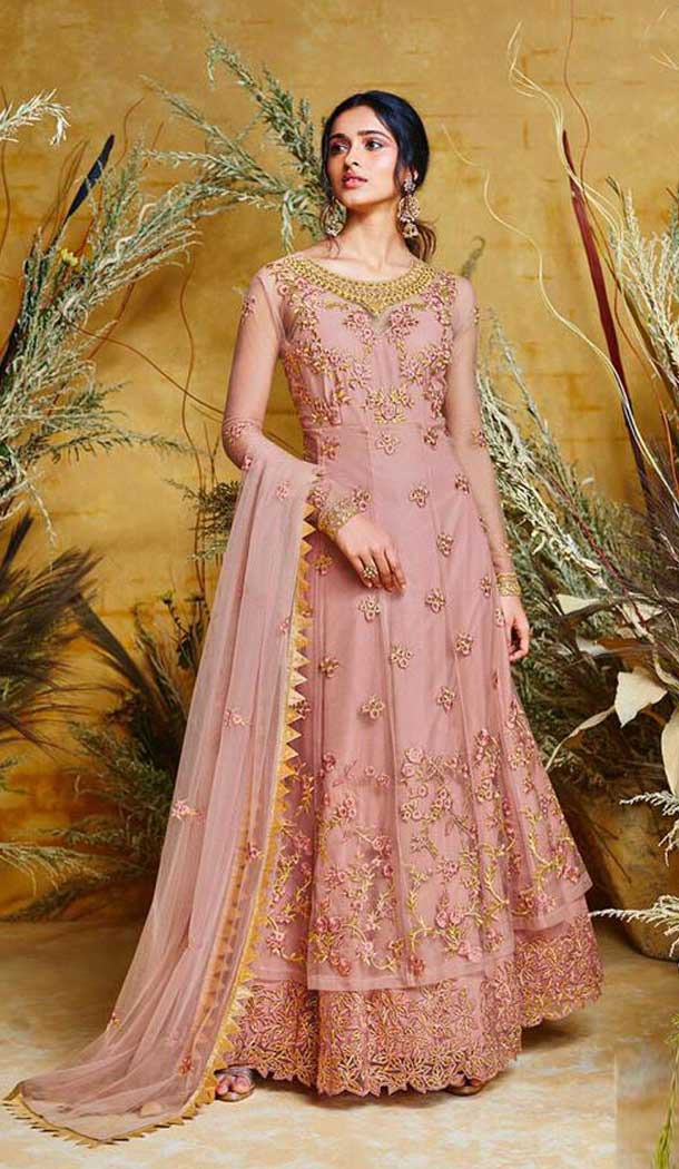 Magnificient Light Pink Color Heavy Net Designer Long Anarkali Salwar Kameez