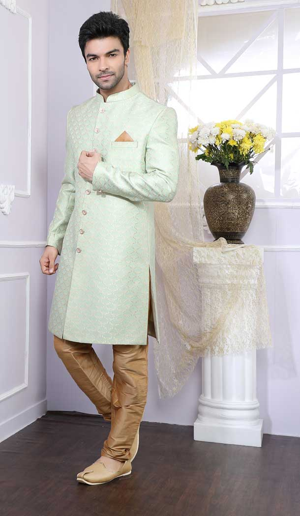 Alluring Pista Color Silk Readymade Indo Western Men Sherwani vol6612