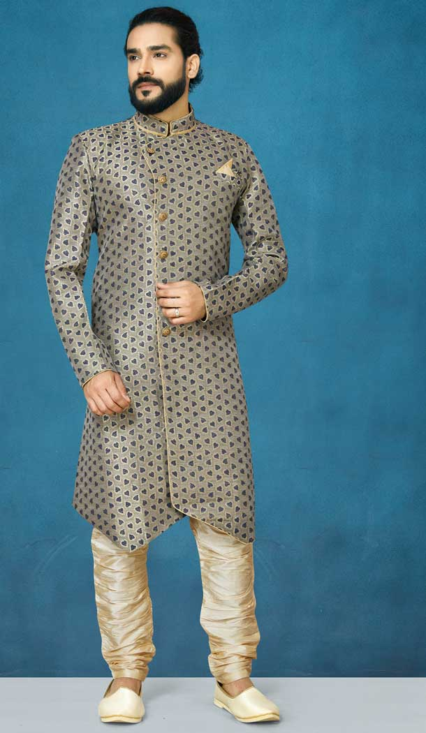 Beige Color Jacquard Silk Readymade Indo Western Men Sherwani vol101004