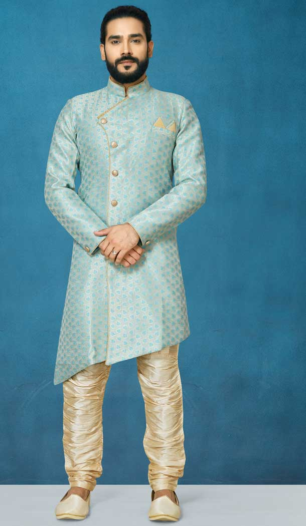 Grey Color Jacquard Silk Readymade Indo Western Men Sherwani vol101006