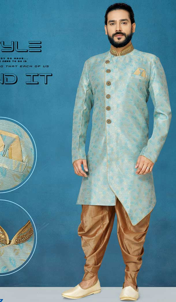 Beautiful Grey Color Jacquard Silk Readymade Indo Western Men Sherwani vol101007