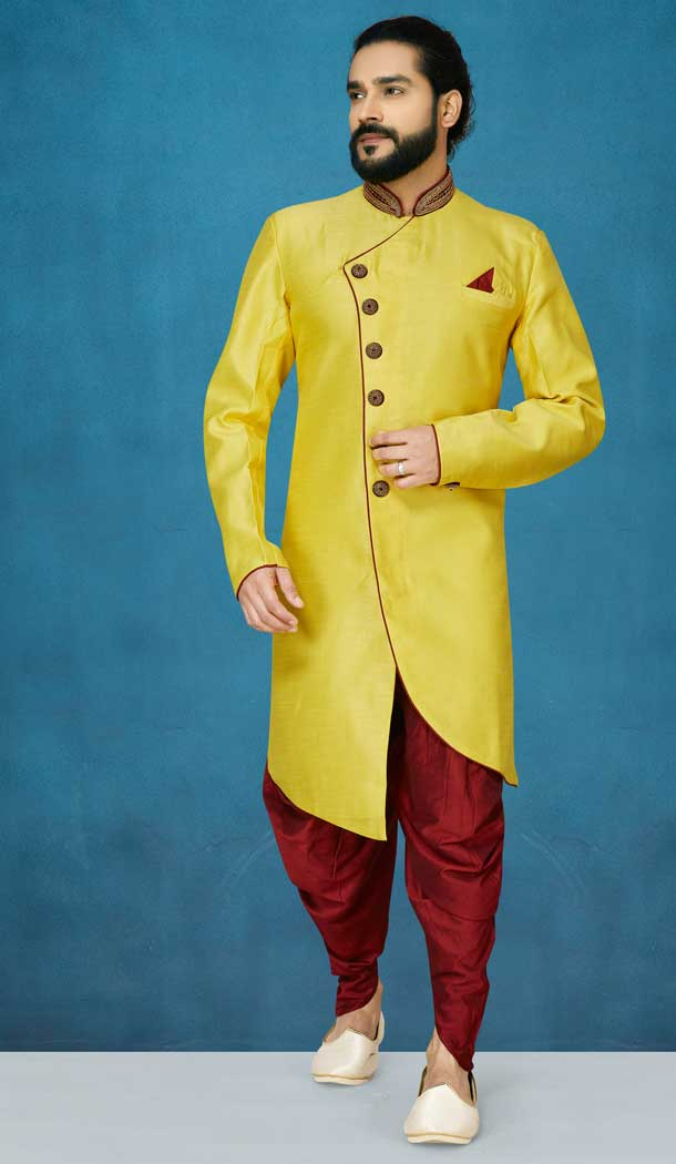 Style Yellow Color Jacquard Silk Readymade Indo Western Men Sherwani vol101024