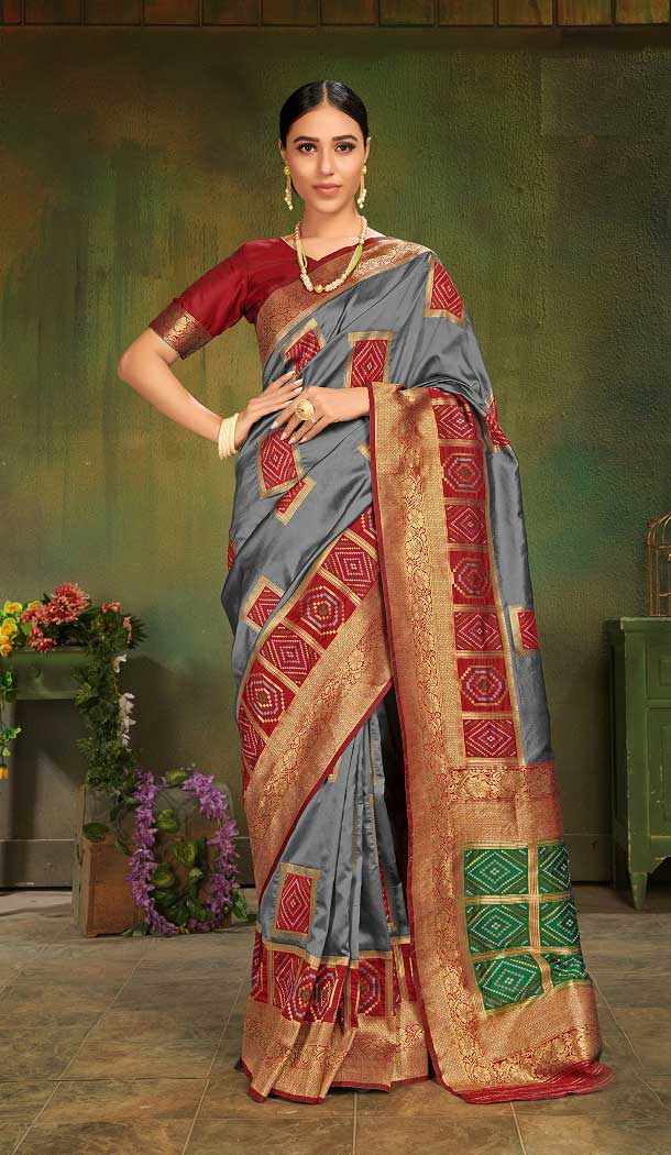 Gleaming Patola Silk Grey Color Designer Party Wear Women Saree -674184723