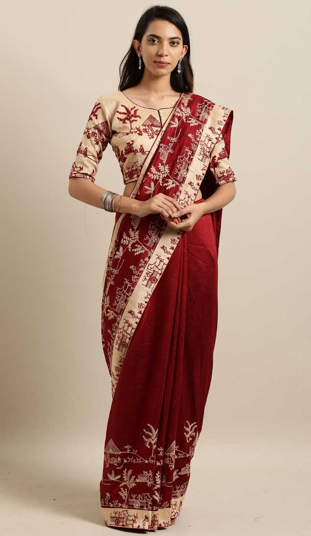 Charming Maroon Color Georgette Designer Classic Wear Saree -677484985