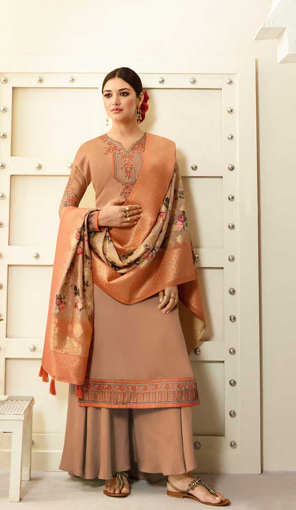 Alluring Beige Color Satin Georgette Party Wear Palazzo Suits -676584921