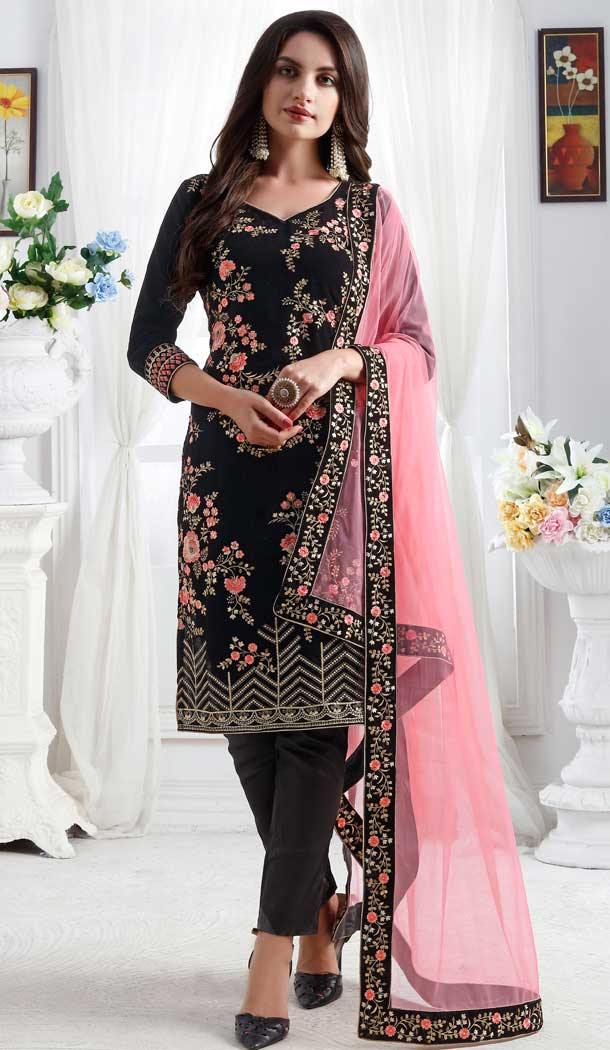 Black Color Premium velvet Party Wear Designer Salwar Kameez -676684922