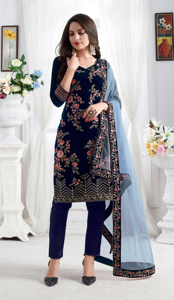 Navy Blue Color Premium velvet Party Wear Designer Salwar Kameez -676684923