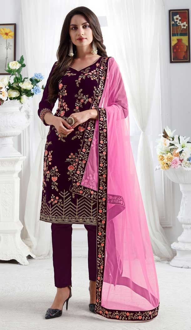 Violet Color Premium velvet Party Wear Designer Salwar Kameez