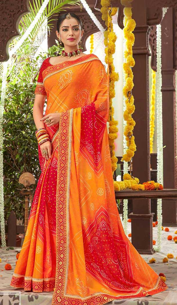 Magnificient Orange Color Chiffon Gujarati Style Bandhani Saree -493567708