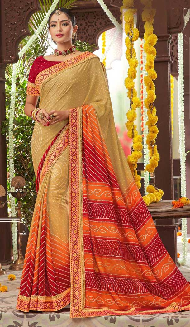 Exquisite Cream Color Chiffon Gujarati Style Bandhani Saree