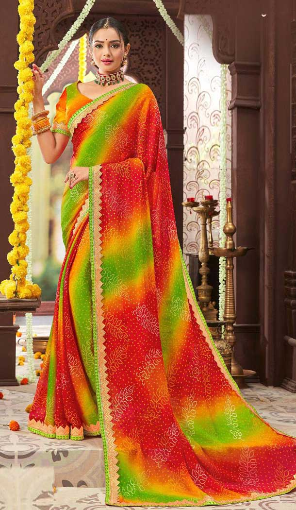 Captivating Multi Color Chiffon Gujarati Style Bandhani Saree -493567713