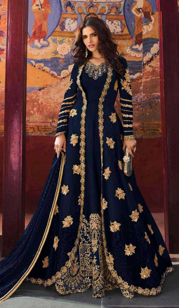 Scintillating Black Color Santoon Designer Pakitani Style Salwar Kameez -493867734