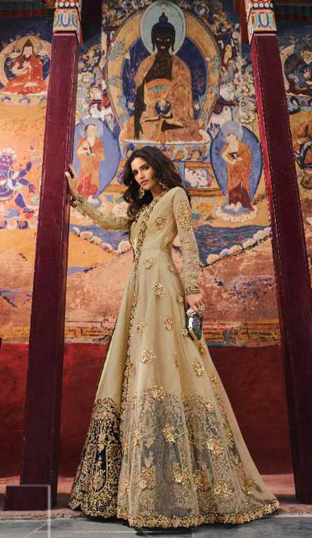 Sparkling Cream Color Santoon Designer Pakitani Style Salwar Kameez -493867736