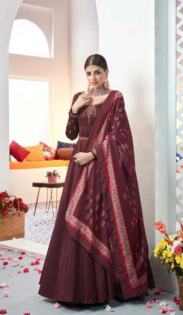 Charming Maroon Color Satin Digital Print Party Wear Indo Westarn Gown -493967738