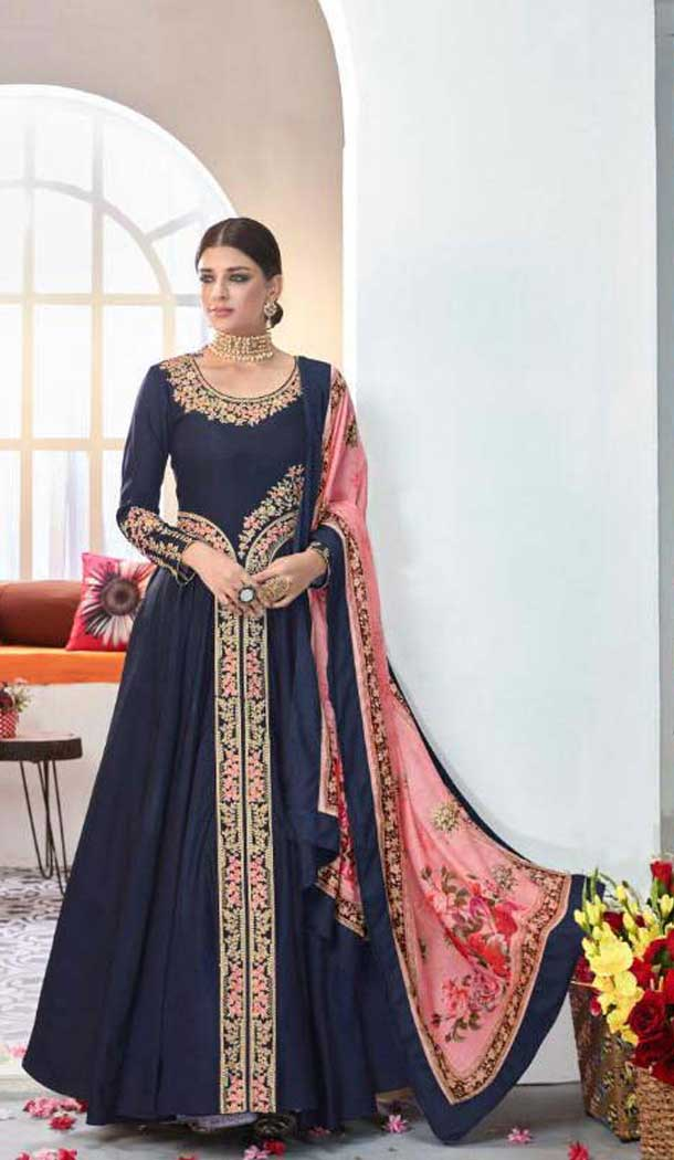 Navy Blue Color Satin Digital Print Party Wear Indo Westarn Gown -493967741