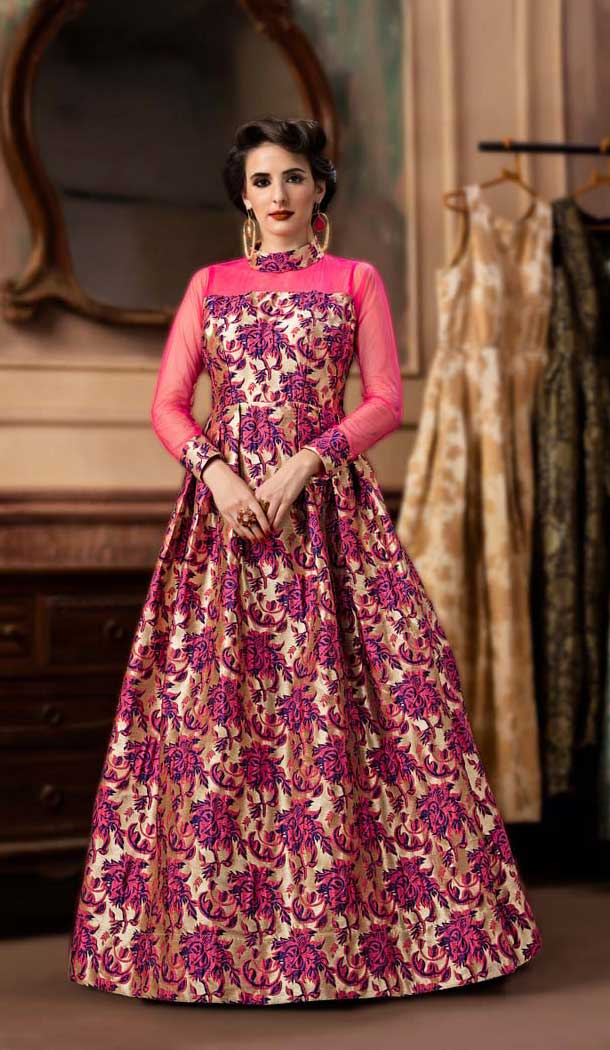 Exquisite Pink Color Jacquard Party Wear Designer Gown For Girls -494467778