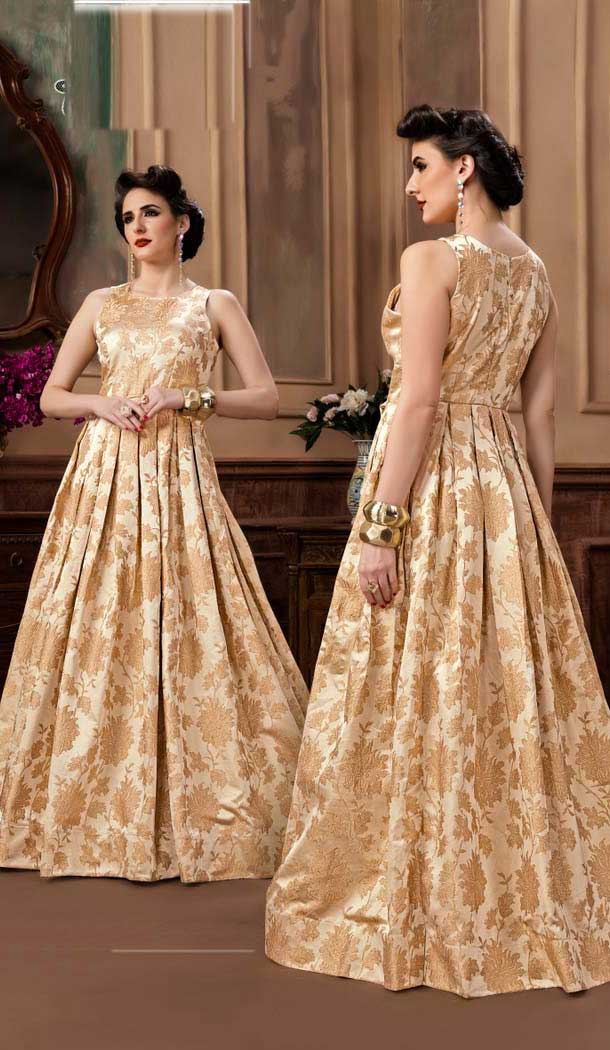 Cream Color Jacquard Party Wear Designer Gown For Girls -494467779