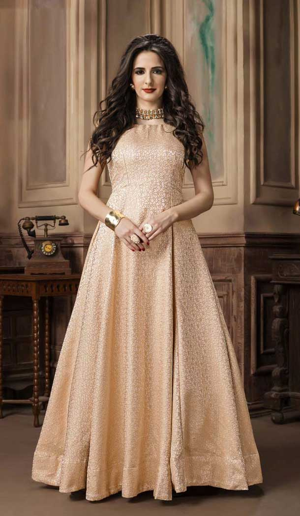 Golden Color Jacquard Party Wear Designer Gown For Girls -494467781