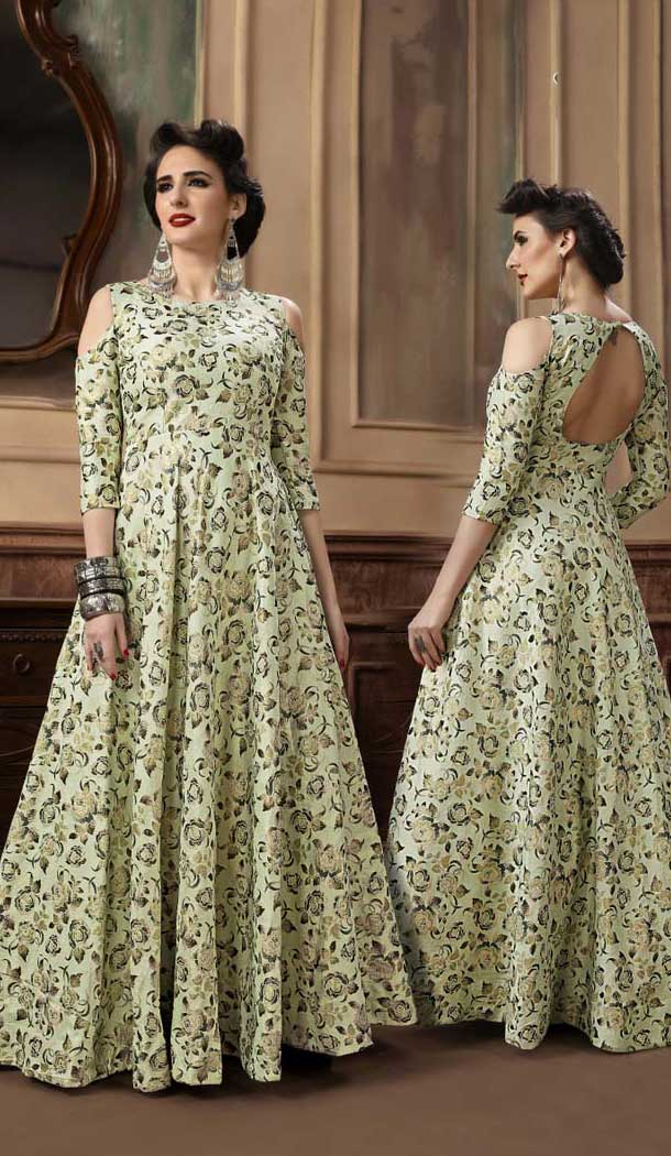 Ethnic Green Color Jacquard Party Wear Designer Gown For Girls -494467782