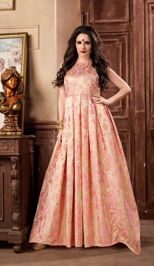 Light Pink Color Jacquard Party Wear Designer Gown For Girls -494467783