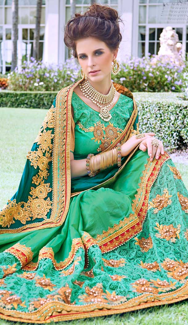 Alluring Green Color Fancy Heavy Embroidred Designer Bridal Saree -679085148