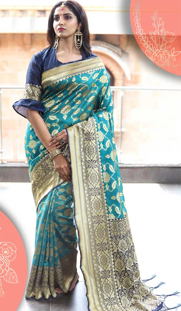 Sky Blue Color Tussar Art Silk Traditional Party Wear Saree -682185453