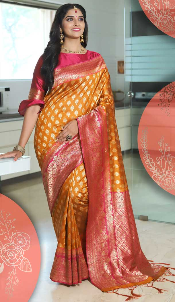 Attractive Orange Color Tussar Art Silk Traditional Party Wear Saree -682185457