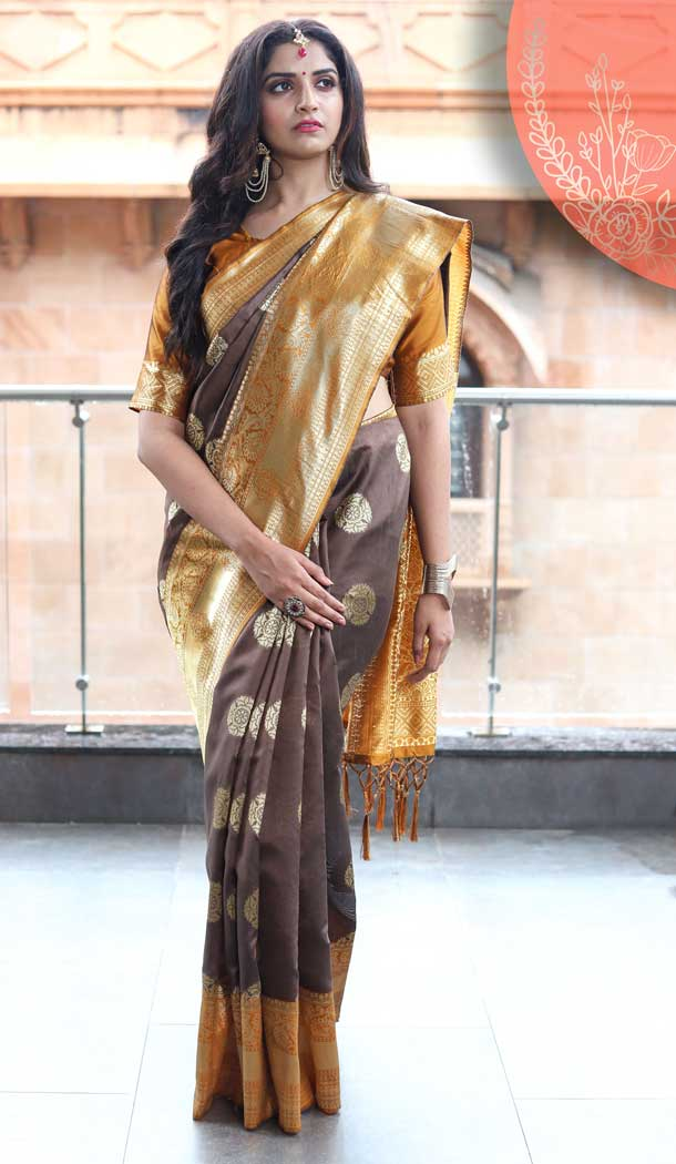 Coffee Color Tussar Art Silk Traditional Party Wear Saree -682185459