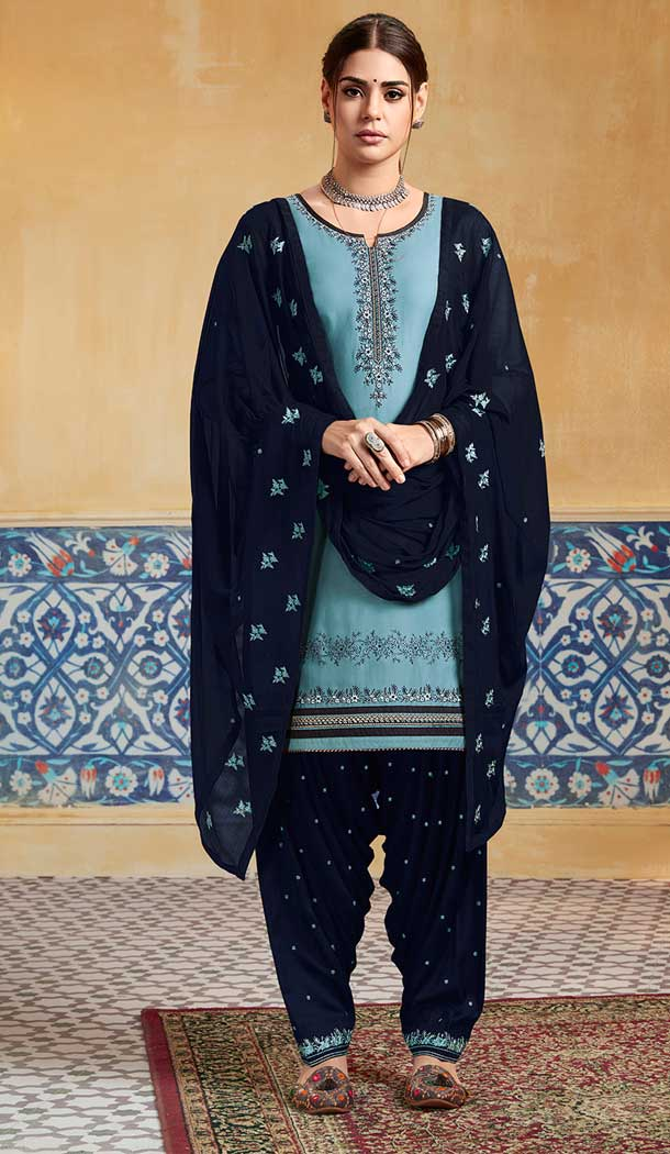 Unique Teal Blue Color Pure Satin Party Wear Patiyala Salwar Suits -684285649