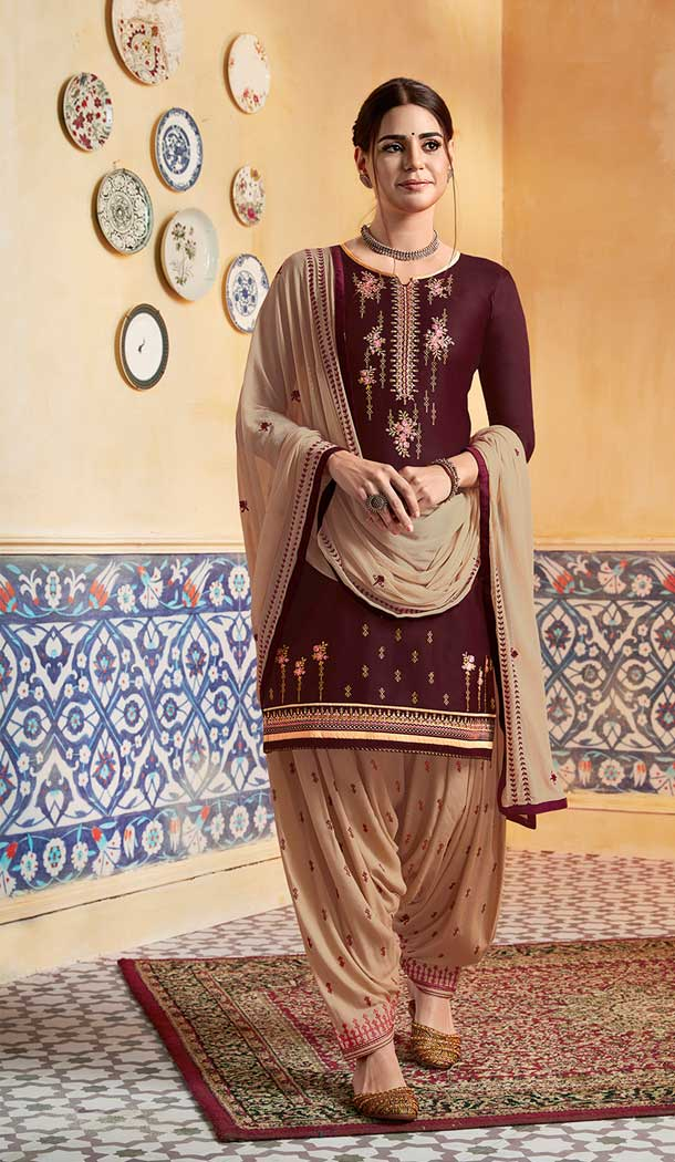 Glamorous Brown Color Pure Satin Party Wear Patiyala Salwar Suits -684285650
