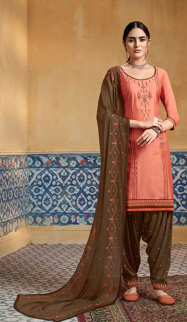 Adorable Peach Color Pure Satin Party Wear Patiyala Salwar Suits -684285651