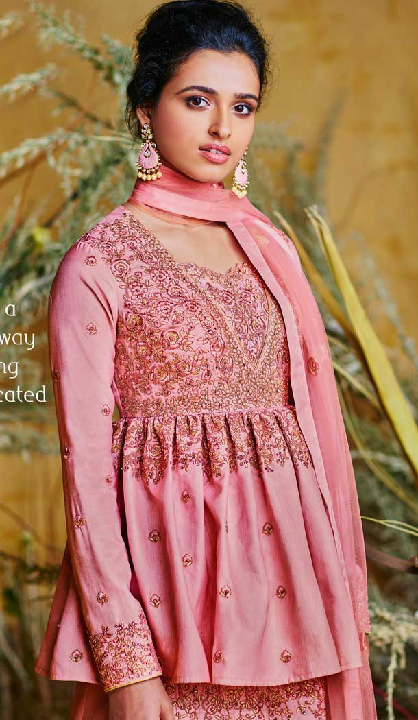 Contemporary Pink Color Heavy Net With Pure Silk Designer Salwar Kameez -684785678